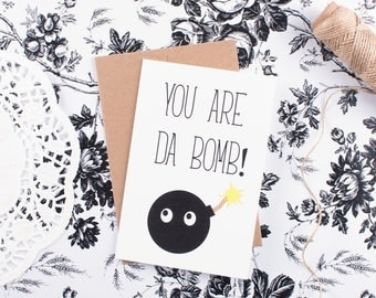 Valentine's Day Kawaii You Are Da Bomb Card Funny Thank You Card Greeting Card Gift Card