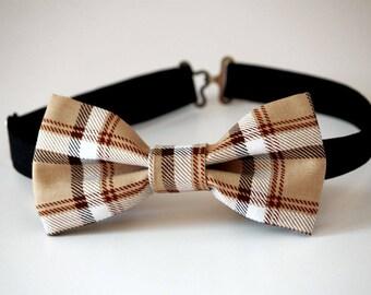 Tan tartan plaid bow tie, gift for him, plaid mens bow tie, wedding bow tie, tan plaid bow tie, burberry bow tie, beige tartan bow tie,groom