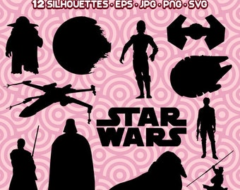 Star Wars Silhouette, Star Wars Clipart, Star Wars PNG, Darth Vader PNG, Yoda Silhouette, Instant Download 30