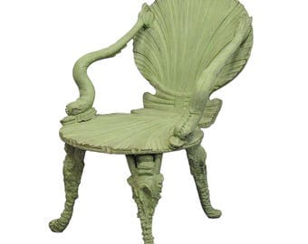 antique wooden carved grotto armchair ca. 1880