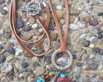 Leather Necklace With Color Beads and Silver Feather