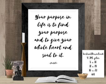 Mindful Poster, Mindfulness Art, Buddhist Sign, Buddha Quote, Yoga Wall Decor, Meditation Wall Art, Inspiring Quote Art, Yoga Gift Poster