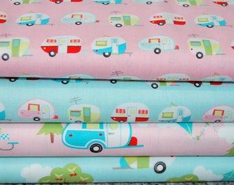 Samantha Walker for Riley Blake Glamper-Licious Caravan Camping Glamping Pink Blue Cotton Fabric