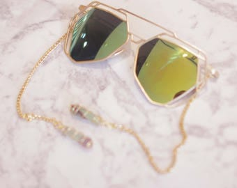 Green Sunglasses with Crystal