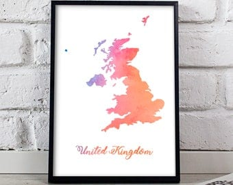 United Kingdom print art Watercolor UK poster UK art UK Map United Kingdom poster wall art wall decor print