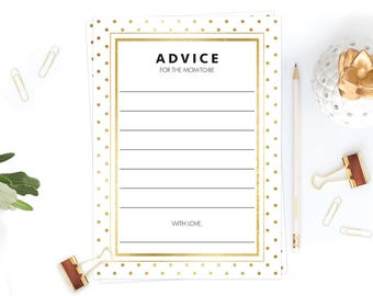 Gold Baby Shower Advice Cards Printable Advice for New Mother Well Wishes for the Mom-to-Be White and Gold Confetti Baby Shower Games GD1