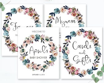 Boho Chic Baby Shower Decorations Floral Baby Sprinkle Sign Bohemian Baby Shower Sign Package Floral Wreath Favors Sign Welcome Signage LF1