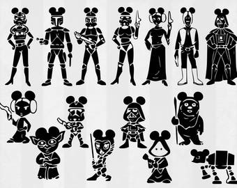 Star Wars Mickey Family SVG Bundle, Star Wars clipart, cut files, svg files for silhouette, files for cricut, svg, dxf, eps, cuttable design