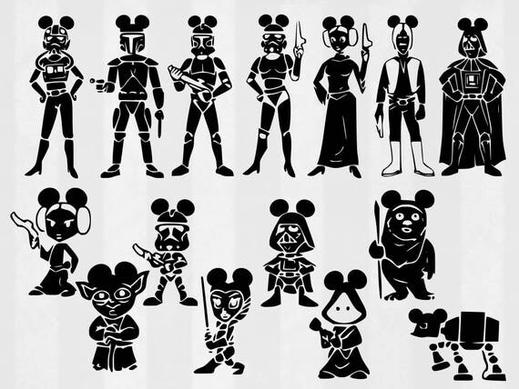 Star Wars Mickey Family Svg Bundle Star Wars Clipart Cut