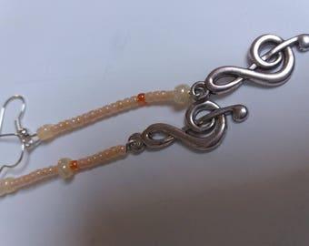 fancy treble clef earrings