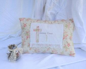 Farmhouse Pillow- Farmhouse Decor- Shabby Chic Pillow- Lace Pillow- Patchwork Pillow- Shabby Chic Accent Pillow- Farmhouse Accent Pillow