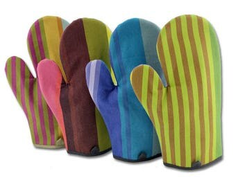 French striped cotton colorful oven mitts