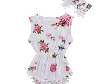 White Floral Romper and Matching Headband