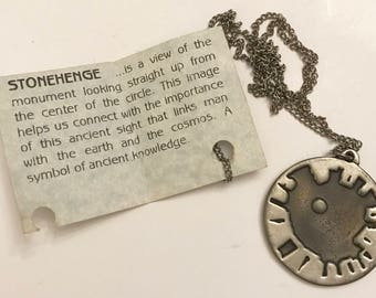 Vintage Raventree Pewter Stonehenge Pendant on Chain