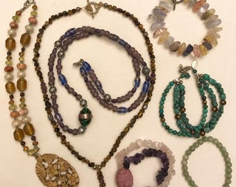 Vintage Real and Faux Gemstone Necklace and Bracelet Lot of Seven