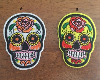 Skull Patch,  skeleton Embroidered patch, skeleton iron on patch, ghost, Halloween patch