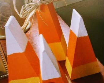 Four piece set candy corn Halloween wood decoration