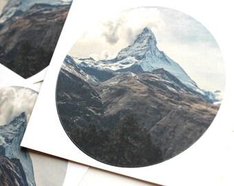 TWO 8cm BIG Mountain Stickers   Large Matte Sticker Circle Adventure Landscape Nature Beautiful Decal Laptop Notepad
