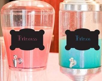 Princess Prince - Chalkboard Style-DIGITAL - Gender Reveal ideas - Gender Reveal Drink Labels- Gender Reveal Party Decoration