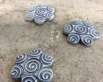 Handmade glazed Blue ceramic for the refrigerator magnets