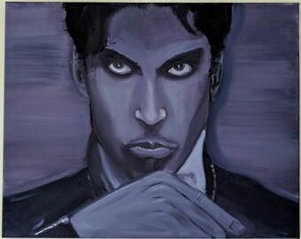 Prince purple rain oil painting canvas original minnesota rockstar portrait