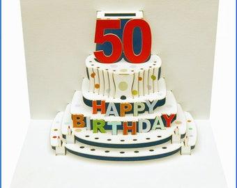 Pop Up Laser cut card - 50th Birthday  POP47