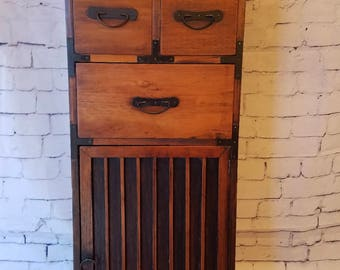 Unique, antique face cabinet. Distinctly different conversation piece.