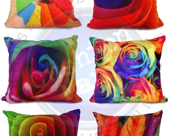 """3D Cushion Rainbow Pencil Rose Abstract Maze Faux Suede 17""""X17"""" Filed/Covers"""