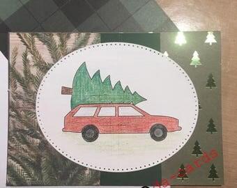Retro Car & Christmas Tree Christmas Card