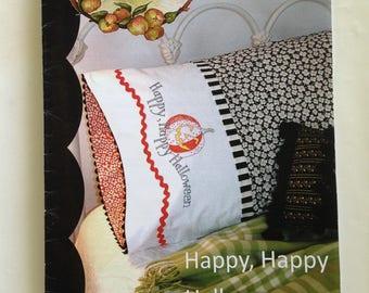 Crabapple Hill Studio Happy Halloween Pillowcase Hand Embroidery by Meg Hawkey