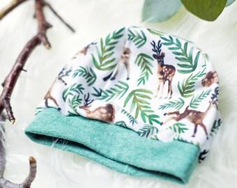 Baby Beanie Hat Ökotex organic Jersey * woodland green *.