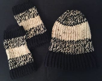 Soft Black and White Knit Hat and Gloves Set
