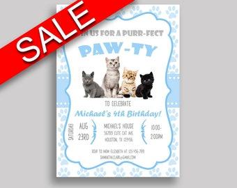 Cat Birthday Invitation Cat Birthday Party Invitation Cat Birthday Party Cat Invitation Boy kitty paw, cute kitten, digital invite HG8OX