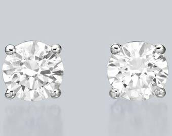 2.0ct diamond stud earrings 14K white gold