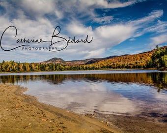 Fall mountains landscape wall art canvas
