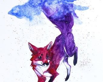 Night Sky Watercolor Print - Fox