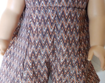 """American Doll 18"""" Doll Clothes-Summer Jumper-Sparkle Brown Zig Zag"""