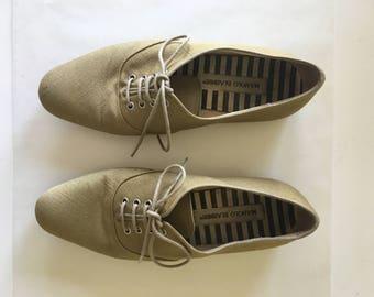 Vintage Manolo Blahnik Raw Linen Loafers