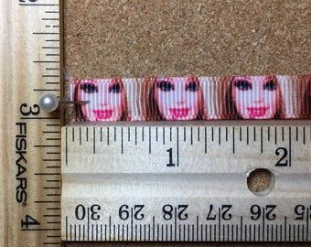 Barbie Closeup 3/8 inch Grosgrain Ribbon