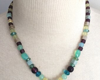 Multicolor glass bead necklace with Venetian glass heart pendant