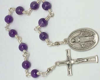 Catholic Fatima 100th Anniversary Pocket Rosary Chaplet 8mm Amethyst Beads