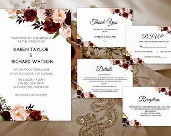 Marsala Wedding Invitation Suite, Wedding Invitation Marsala, Marsala Wedding Invitation Set, Marsala Wedding Invitation Template