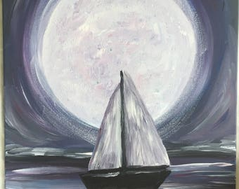 Purple Sailing Moon 16x20