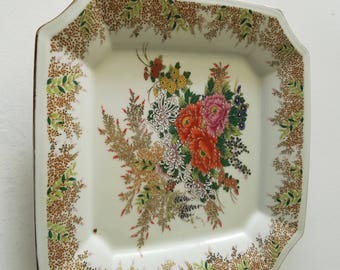 chrysanthemum gilded square plate