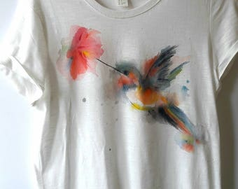 Hand painted hummingbird and flower t-shirt, bohemian top, watercolour effect 2017 collection