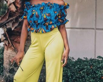 African Print Off Shoulder Top