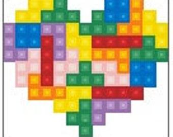 Tetris Heart Cross Stitch Chart