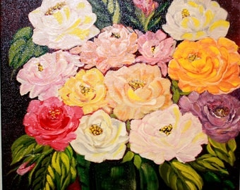 """ACRYLIC PAINTING Medley of Roses 2015 on canvas 11"""" x 14"""" by Dorothy Norris"""