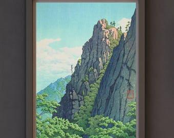 Art Print - Shin-Hanga Japanese Art Titled Samburam Rock, Kumgang Mountain (1939) by Kawase Hasui