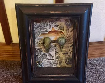 Rabbit and bird skull framed in box frame